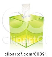 Royalty Free RF Clipart Illustration Of A Trasparent Green Ballot Box With An Envelope On The Top