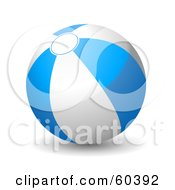 Royalty Free RF Clipart Illustration Of A Shiny 3d Blue And White Beach Ball