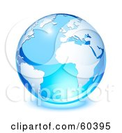 Royalty Free RF Clipart Illustration Of A Shiny Blue Globe With South America Africa And The Atlantic Ocean Version 1
