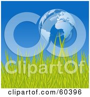 Royalty Free RF Clipart Illustration Of A Floating Bubble Globe Featuring Europe Over Green Grass Against A Blue Sky by Oligo