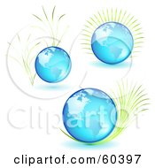 Royalty Free RF Clipart Illustration Of A Digital Collage Of Three Blue Glass Globes With Plants by Oligo