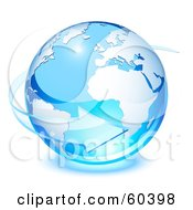 Royalty Free RF Clipart Illustration Of A 3d Blue Planet Earth With A Transparent Glass Arrow Circling by Oligo #COLLC60398-0124