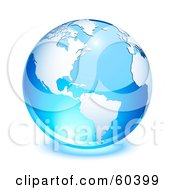 Royalty Free RF Clipart Illustration Of A Shiny Blue Globe With American Continent And The Atlantic Ocean Version 1
