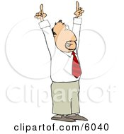 Businessman With An Idea Pointing Both Of His Pointer Fingers Up Clipart Picture