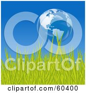 Royalty Free RF Clipart Illustration Of A Floating Bubble Globe Featuring The Americas Over Green Grass Against A Blue Sky