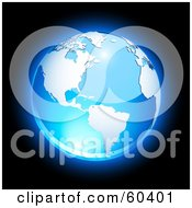Royalty Free RF Clipart Illustration Of A Shiny Blue Globe With American Continent And The Atlantic Ocean Version 2 by Oligo
