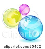Three Pink Yellow And Blue Planet Earths