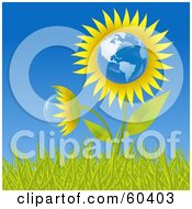 Royalty Free RF Clipart Illustration Of A Growing American Sunflower Globe In Grass Against A Blue Sky