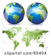 Royalty Free RF Clipart Illustration Of Two 3d Globes Over A Green World Atlas by Oligo