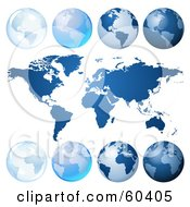 Royalty Free RF Clipart Illustration Of A Digital Collage Of Blue Globes And An Atlas by Oligo