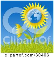 Royalty Free RF Clipart Illustration Of A Growing Europe Sunflower Globe In Grass Against A Blue Sky