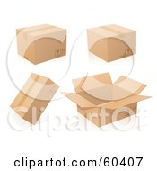 Royalty Free RF Clipart Illustration Of A Digital Collage Of Four Cardboard Shipping Boxes