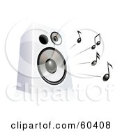 Royalty Free RF Clipart Illustration Of A Black Music Notes Blaring From A White Speaker by Oligo #COLLC60408-0124