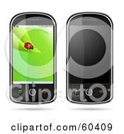 Royalty Free RF Clipart Illustration Of A Digital Collage Of Cell Phones With Blank And Ladybug Screens by Oligo