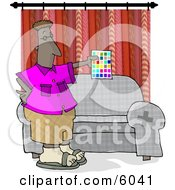 African American Interior Designer Holding A Color Chart Clipart Picture by djart