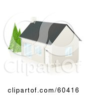 Royalty Free RF Clipart Illustration Of A Cute White Home With A Chimney And Mature Trees In The Yard