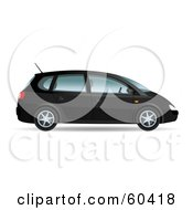 Royalty Free RF Clipart Illustration Of A Black 3d Mini Van With Four Doors by Oligo
