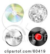 Royalty Free RF Clipart Illustration Of A Digital Collage Of Music Items Cd Disco Ball Volume Dial Vinyl Record by Oligo