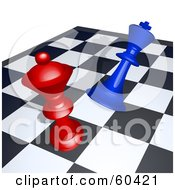 Royalty Free RF Clipart Illustration Of A Red Chess Piece Knocking Down A Blue Piece On A Board