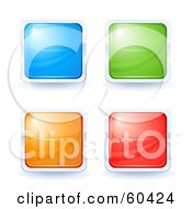 Royalty Free RF Clipart Illustration Of A Digital Collage Of Four Bright Square Internet Buttons Blue Green Orange And Red