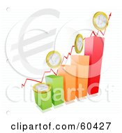 Royalty Free RF Clipart Illustration Of A Colorful Bar Graph With An Arrow Euro Symbol And Coins On Paper