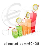 Royalty Free RF Clipart Illustration Of A Colorful Bar Graph With Coins And An Arrow And A Large Euro Symbol