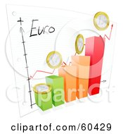 Royalty Free RF Clipart Illustration Of A 3d Bar Graph With Euro Coins And A Goal Sketch On Paper
