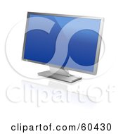 Royalty Free RF Clipart Illustration Of A Modern Silver Widescreen Computer Monitor Or Television With A Blue Screen Saver