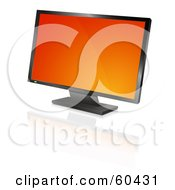 Royalty Free RF Clipart Illustration Of A Modern Widescreen Computer Monitor Or Television With An Orange Screen Saver