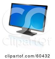 Royalty Free RF Clipart Illustration Of A Modern Widescreen Computer Monitor Or Television With A Blue Screen Saver