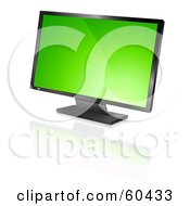 Royalty Free RF Clipart Illustration Of A Modern Widescreen Computer Monitor Or Television With A Green Screen Saver