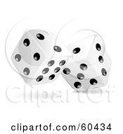 Pair Of Rolling 3d White And Black Dice