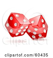 Pair Of Rolling 3d White And Red Dice