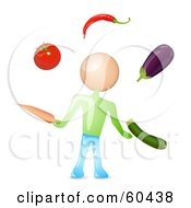 Royalty Free RF Clipart Illustration Of A Man Juggling Healthy Veggies by Oligo