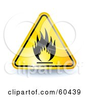 Royalty Free RF Clipart Illustration Of A 3d Shiny Yellow Fire Sign by Oligo