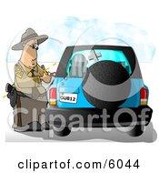 Californian Highway Patrolman Writing A Ticket To A Speeding Motorist