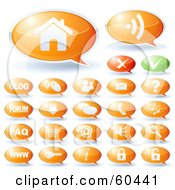 Royalty Free RF Clipart Illustration Of A Digital Collage Of Green And Orange Speech Bubble Website Icons