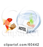 Royalty Free RF Clipart Illustration Of A Goldfish Checking Into A Hotel Bowl
