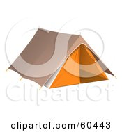 Royalty Free RF Clipart Illustration Of A Pitched Brown And Orange Camping Tent