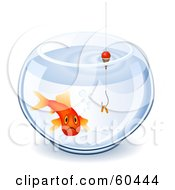 Royalty Free RF Clipart Illustration Of A Depressed Goldfish In A Bowl With A Worm On A Hook