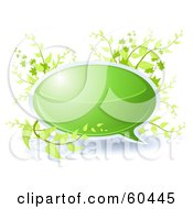 Royalty Free RF Clipart Illustration Of A Green Chat Bubble With Plants by Oligo