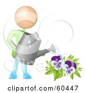 Royalty Free RF Clipart Illustration Of A Man Holding A Can And Watering Purple Pansies by Oligo