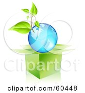 Royalty Free RF Clipart Illustration Of A Plant Growing On A Blue Globe Over An Open Box by Oligo
