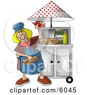 Happy Lady Working At A Portable Roadside Hot Dog Stand Clipart Picture