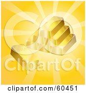 Royalty Free RF Clipart Illustration Of Stacked 3d Gold Bars With Bright Light