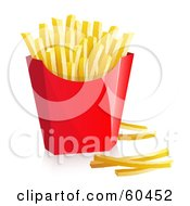 Royalty Free RF Clipart Illustration Of A Red Container Of Fast Food French Fries Version 1 by Oligo