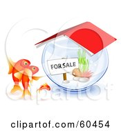 Royalty Free RF Clipart Illustration Of A Goldfish Family Checking Out A Bowl For Sale by Oligo