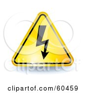 3d Shiny Yellow High Voltage Sign