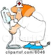 Nurse Preparing An Intravenous Drip For A Hospitalized Patient