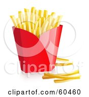 Royalty Free RF Clipart Illustration Of A Red Container Of Fast Food French Fries Version 2